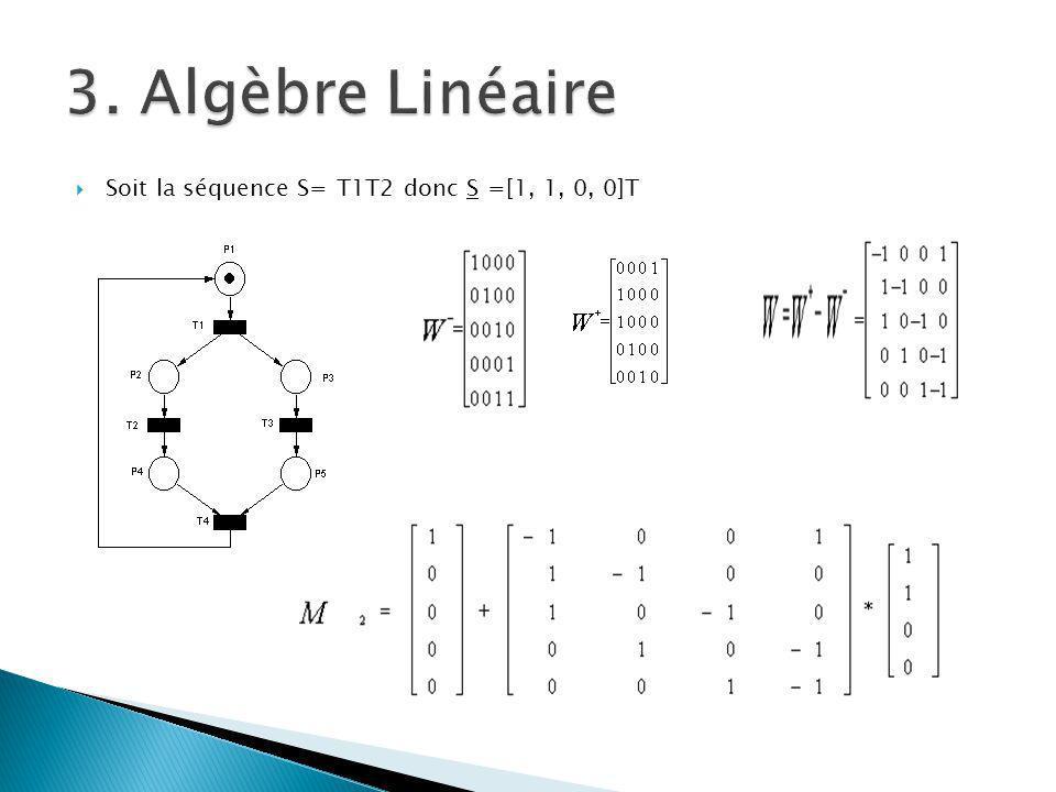 3. Algèbre Linéaire Soit la séquence S= T1T2 donc S =[1, 1, 0, 0]T